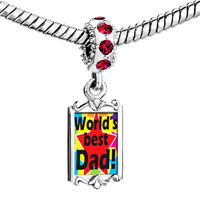 Charms Beads - red crystal dangle world' s best dad Image.