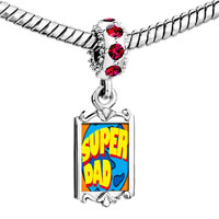 Charms Beads - red crystal dangle super dad Image.
