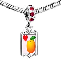 Charms Beads - red crystal dangle heart orange Image.