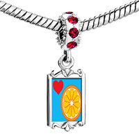 Charms Beads - red crystal dangle heart orange slice Image.