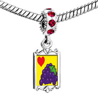 Charms Beads - red crystal dangle heart grapes Image.