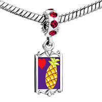 Charms Beads - red crystal dangle heart pineapple Image.