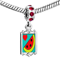 Charms Beads - red crystal dangle heart watermelon Image.