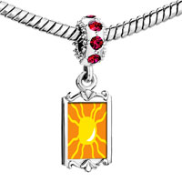 Charms Beads - red crystal dangle bright yellow sun Image.