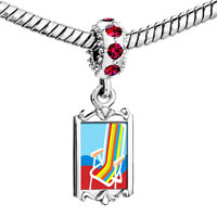 Charms Beads - red crystal dangle colorful beach chair Image.