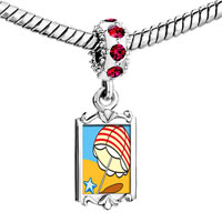 Charms Beads - red crystal dangle beach umbrella Image.