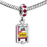 Charms Beads - red crystal dangle just married couple Image.