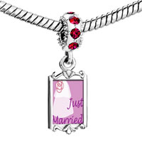 Charms Beads - red crystal dangle just married Image.