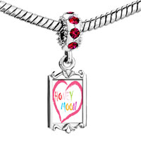 Charms Beads - red crystal dangle honeymoon heart Image.