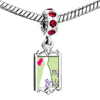 Charms Beads - red crystal dangle heart my bride Image.