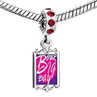Charms Beads - red crystal dangle our big day heart Image.