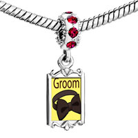 Charms Beads - red crystal dangle groom bow tie Image.