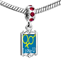 Charms Beads - red crystal dangle i love you couple Image.