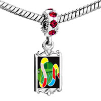 Charms Beads - red crystal dangle multicolored snake a fish Image.