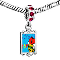 Charms Beads - red crystal dangle native american boy Image.