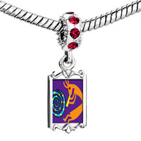 Charms Beads - red crystal dangle kokopelli dance Image.