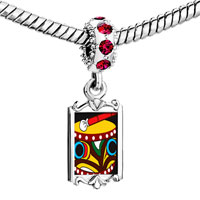 Charms Beads - red crystal dangle native american drum Image.