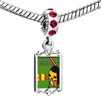 Charms Beads - red crystal dangle native american girl Image.