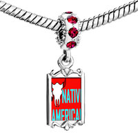 Charms Beads - red crystal dangle native american bull Image.