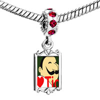 Charms Beads - red crystal dangle tio heart person Image.