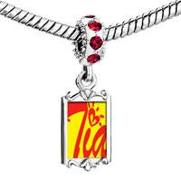 Charms Beads - red crystal dangle cursive heart tia Image.