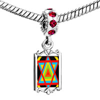 Charms Beads - red crystal dangle multicolored star of david fit all brands charms bracelets Image.