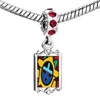 Charms Beads - red crystal dangle tribal facial mask Image.