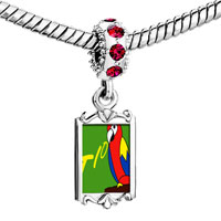 Charms Beads - red crystal dangle tio speaking parrot Image.