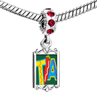Charms Beads - red crystal dangle tia chili pepper Image.