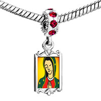 Charms Beads - red crystal dangle our lady guadalupe Image.