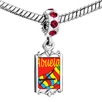 Charms Beads - red crystal dangle abuela sewing work Image.