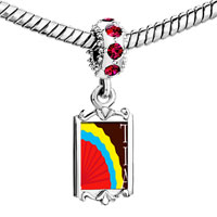 Charms Beads - red crystal dangle multicolored tia fan Image.