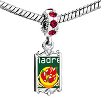 Charms Beads - red crystal dangle madre chili peppers Image.