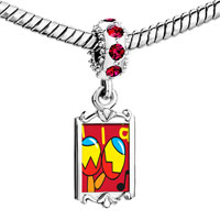 Charms Beads - red crystal dangle tia music instrument Image.