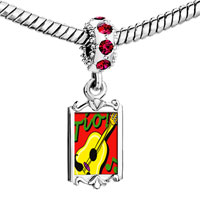 Charms Beads - red crystal dangle tio guitar music Image.