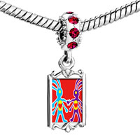 Charms Beads - red crystal dangle colorful kokopelli heart Image.