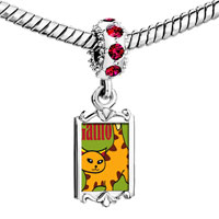 Charms Beads - red crystal dangle orange tabby gatito cat Image.