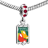 Charms Beads - red crystal dangle hot chile prima cousin Image.