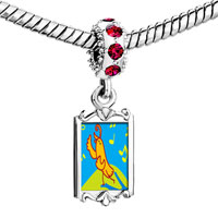 Charms Beads - red crystal dangle singing chirping bird Image.