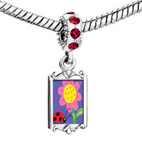 Charms Beads - red crystal dangle ladybug flower Image.