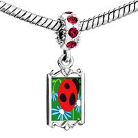 Charms Beads - red crystal dangle curious ladybug Image.