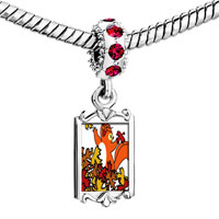 Charms Beads - red crystal dangle fall squirrel fun Image.