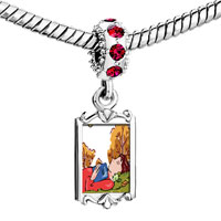 Charms Beads - red crystal dangle boy sleeping in autumn Image.