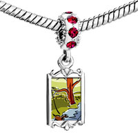Charms Beads - red crystal dangle autumn creek river Image.