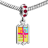Charms Beads - red crystal dangle multicolored gift wrapped present Image.