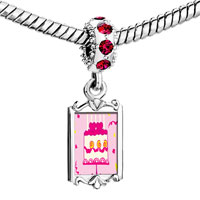 Charms Beads - red crystal dangle pink heart birthday cake Image.