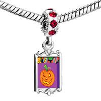 Charms Beads - red crystal dangle jack o lantern halloween pumpkin cy bag Image.