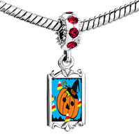 Charms Beads - red crystal dangle jack o lantern halloween pumpkin cy corn Image.