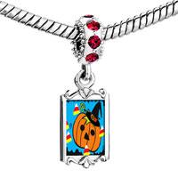 Charms Beads - red crystal dangle jack o lantern halloween pumpkin cy corn Image.