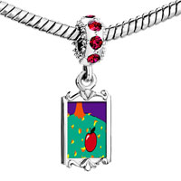 Charms Beads - red crystal dangle autumn fall apple Image.